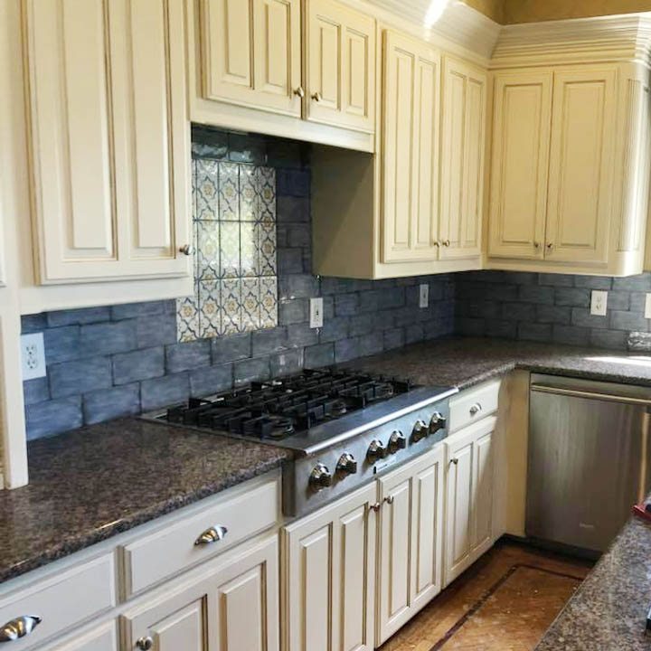 custom tile backsplash in kitchen